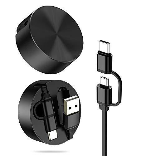Micro-USB-Kabel & USB-Type C-Kabel, DesertWest 2 in 1 Einziehbares Ladekabel mit USB C Adapter auf Micro USB für Android Handys (Schwarz), MEHRWEG (Usb-kabel 2 In 1)