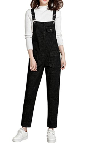 Gihuo Damen baggy denim-jean-overall groß schwarz