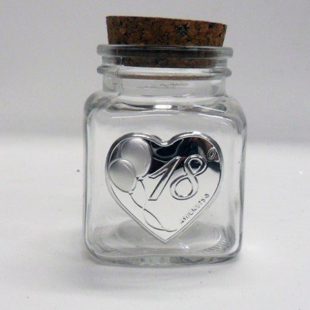 Bomboniere (2 bomboniere) barattolo con piastra cuore 18 anni tappo sughero