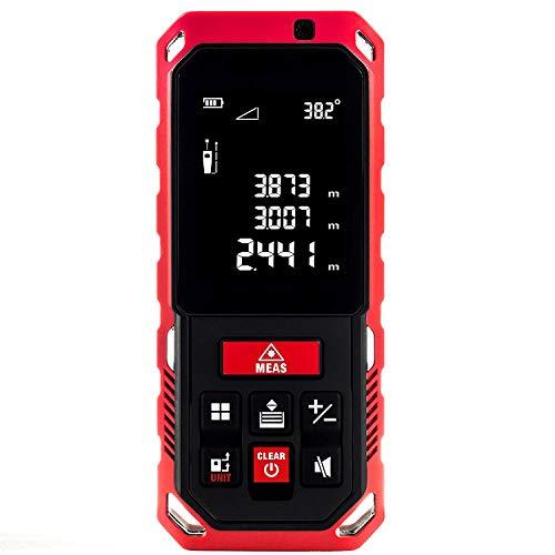 Laser Entfernungsmesser,NBWS Messbereich LCD Display mit Beleuchtung Neigungssensor Messgenauigkeit Ni-MH 800 mAh Akkus Schutztasche IP65 Schutzklasse