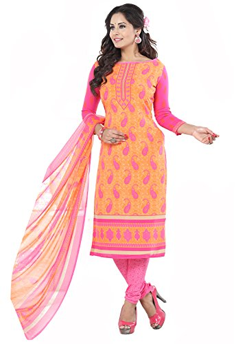 Ishin Synthetic Peach & Pink Party Wear Wedding Wear Casual Daily Wear Festive Wear Bollywood New Collection Printed Latest Design Trendy Unstitched Salwar Suit Dress Material (Anarkali/Patiyala) With Dupatta  available at amazon for Rs.499