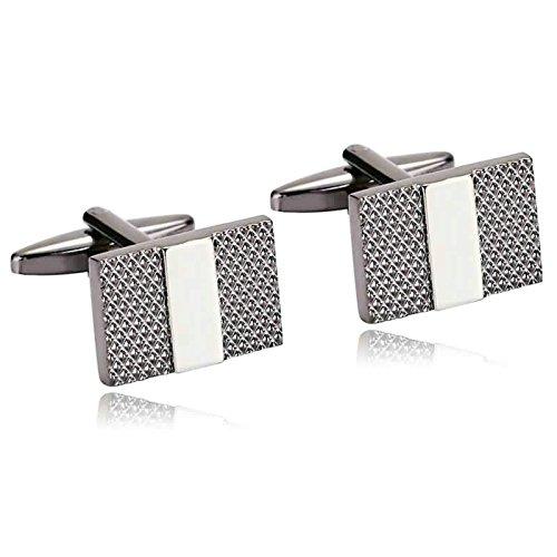 Aooaz 1 Paar / 2 Stück Herren Manschettenknöpfe Edelstahl Plaid Rechteck Schwarz Silber Verlobung Manschettenknopf 1.8 x 1.2cm (Tasche Plaid Anzug Zwei)