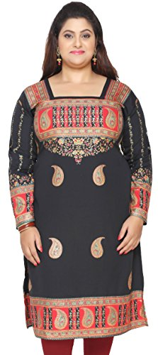 Indien Tunika Long Top Kurti Womens Plus Size Kleidung (Schwarz, L)