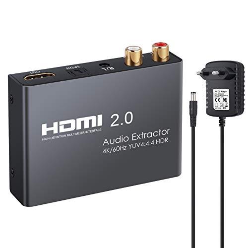 eSynic HDMI 2.0 Audio Extractor Unterstützt 4K@60Hz YUV 4:4:4 und HDR HDMI zu Optisch Toslink SPDIF + Analoger RCA L/R 3,5 mm Kopfhörer Stereo Audio Splitter Konverter für Blu-ray Player Xbox HDTV