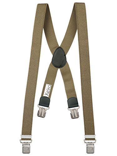 Xeira Bretelles X-Design de haute qualité pour Femmes/Homme avec 4 Extra fort Eagle clips dans 15 Couleurs - avec 4 XL Eagle CLIP (Beige)