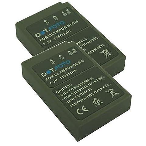 2 x Dot.Foto Batterie de qualité pour Olympus BLS-5, BLS-50 avec InfoChip - 7,2v / 1150mAh - garantie de 2 ans - Olympus Pen E-P3, E-PL2, E-PL3, E-PL5, E-PL6, E-PL7, E-PL8, E-PM1, E-PM2 / OM-D E-M10, OM-D E-M10 Mark II / Stylus 1, Stylus 1s
