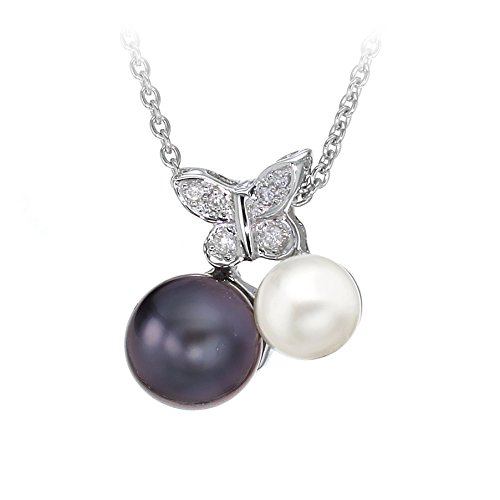 Carissima Gold Women's 18 ct White Gold Diamond Black and White Pearl Butterfly Necklet of Length 46 cm/18 Inch