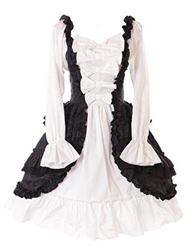 Kawaii-Story JL de 664Manga Larga Volantes Lazos Vestido gemusterter Ornament Negro Blanco Victorian Disfraz Gótico Lolita Cosplay