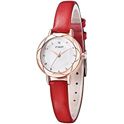 Inwet Small Women's Quartz Watch with Mother of Pearl Dial Analogue Display and Red Leather Strap