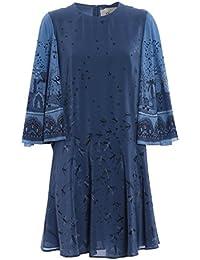 Valentino Damen MB0VACQ5375GT8 Blau Seide Kleid