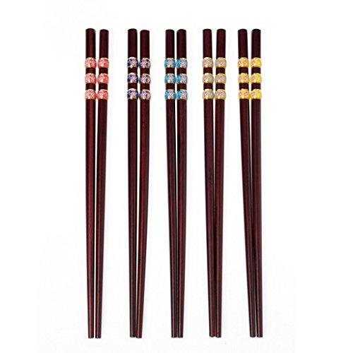 Bacchette di natura giapponese 5 paia di bastoncini di sushi in legno posate di sushi, perfette per piatti asiatici 24cm c10