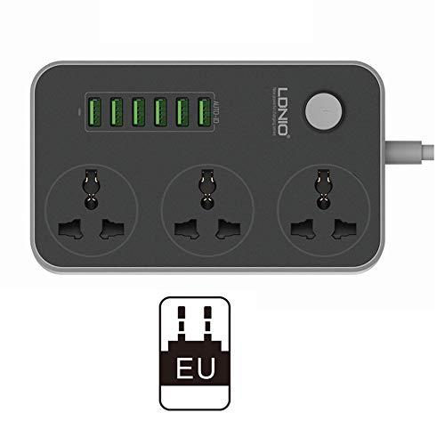 3 Steckdosen 6 USB-Anschlüsse USB-Steckdosenleiste Smart Home-Buchse Überspannungsschutz Schnellladung Home Extension Patch Board EU/US/UK