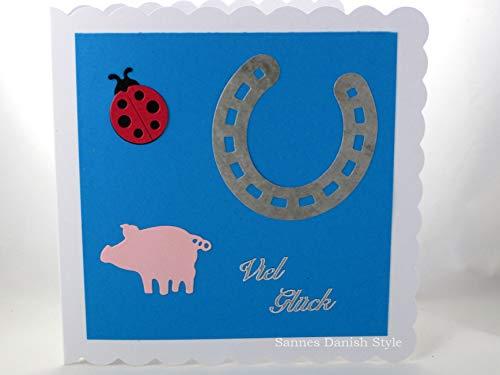 Grußkarte mit Glücksschwein, Marienkäfer und ein Pferdeschuh, ca. 15 x 15 cm