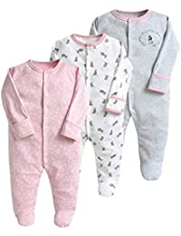 Bebé Pijama Pack de 3, Pelele de Algodón Niño Niña Mameluco Manga Larga 3-12 Meses