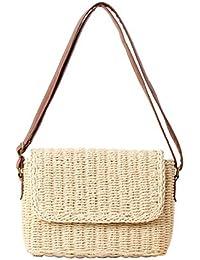 Leisial Mochila de Hombro de Paja Playa Hueco de Verano Retro Bolso de Viaje Pura Mano de Ganchillo Straw Bag para…