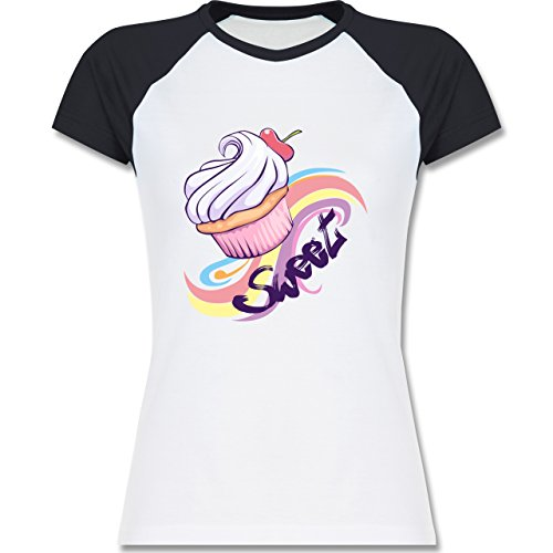 Küche - Sweet Cupcake - zweifarbiges Baseballshirt / Raglan T-Shirt für Damen Weiß/Navy Blau