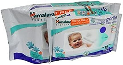 Himalaya Herbals Gentle Baby Wipes (72 Sheets) With Free Wipes (12 Sheets)