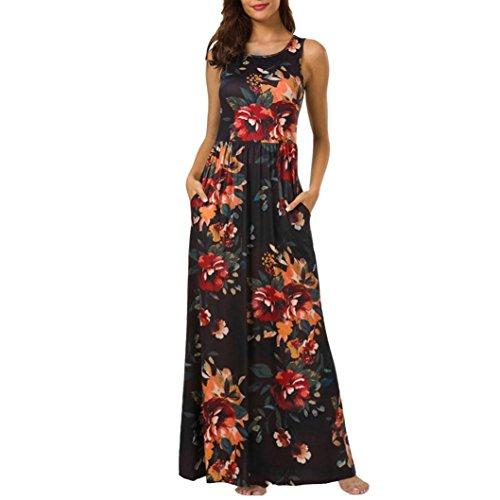 Damen Lange Kleider,Kanpola Maxikleider Blumenkleid Blumedrucken Rundhals High Waist Blume Kleid Casual Festlich Hochzeit Tunika Bluse