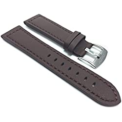 28mm Brown Racer with Stitching, Genuine Leather Watch Strap Band, with Stainless Steel Buckle, NEW!