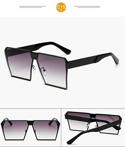 WWVAVA Sonnenbrillen Mode Übergroße Sonnenbrille Metallrahmen Platz Luxusmarke Designer Frauen Spiegel Sonnenbrille Männer UV400 Big Frame Shades, c6