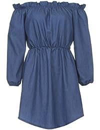 Outtop Women's Fashion Off Shoulder Long Sleeve Party Elegant Mini Cowboy Dress