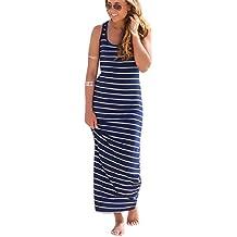 Tongshi Las mujeres sin mangas a rayas flojo partido de la playa del vestido largo ocasional