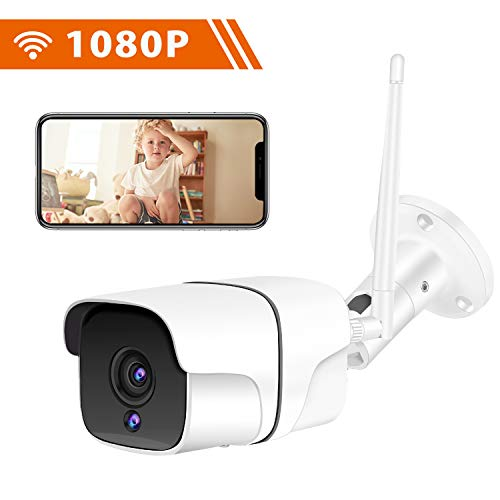 Cámara de Vigilancia Exterior Interior IP WiFi HD 1080P, IR Visión Nocturna LED, Audio Bidireccional, Detección de Movimiento, Impermeable IP66 Cámara de Seguridad para Casa Garden Garaje Tienda