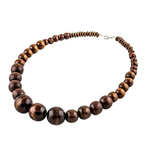 EVBE AHolzperlen Halskette Afrika Hölzerne Kette Statement Große Halsketten