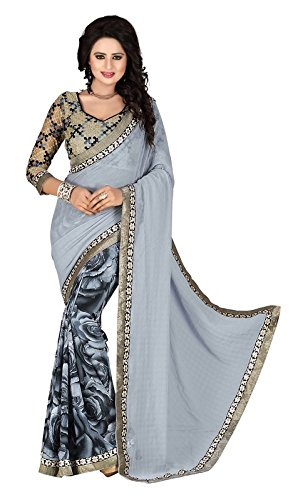 sr Product Womens Weightless half half Sarees with lace boarder And woolen embroidery blouse