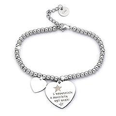 Idea Regalo - Beloved ❤️ Braccialetto da donna, bracciale in acciaio emozionale - frasi, pensieri, parole con charms - ciondolo pendente - misura regolabile - incisione - argento (MOD 4)