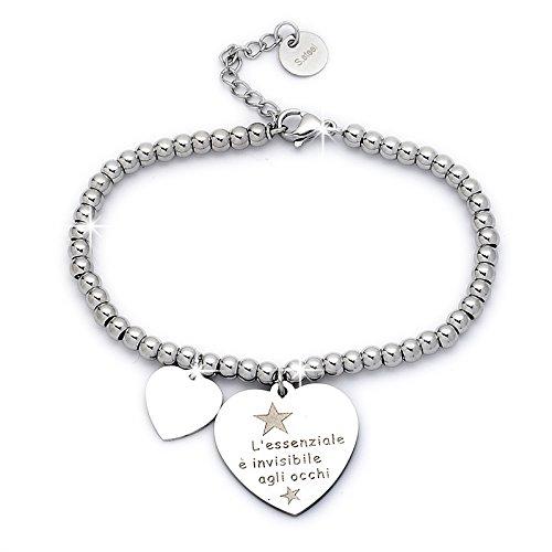 Beloved ❤️ Braccialetto da donna, bracciale in acciaio emozionale - frasi, pensieri, parole con charms - ciondolo pendente - misura regolabile - incisione - argento M12