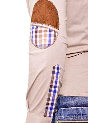 D&R Fashion Homme Chemise Casual Slim Fit Col Montant Beige Bleu Marine Beige