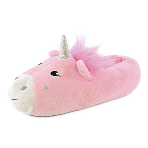 FootprintsPadstow - Girls Childrens Unicorn Fleece Novelty Slippers Pink - Gir-uni-nk