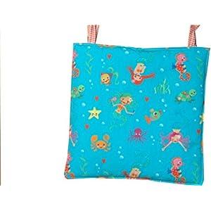 Stuhlkissen für Kinderstuhl, Kinderstuhlkissen mit Bändern, Kinderstuhlkissen mit Meerjungfrau