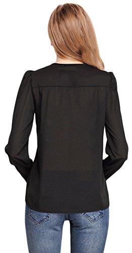La Vogue Chemise Femme Chiffon Rétro Uni Col V Décoration De Cuivre Noir