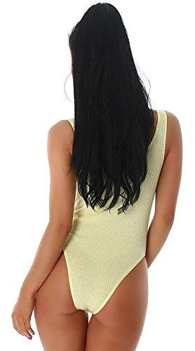 Damen-Body (viele Farben) mit Schnürung vorn * Gr. 36 38 40 * Damenbody ärmellos Body Gelb