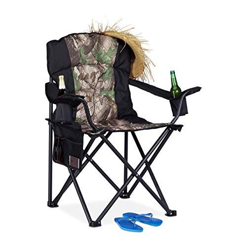 Relaxdays Campingstuhl, klappbarer Anglerstuhl mit 2 Getränkehaltern & Seitentasche, tragbar, bis 113 kg, schwarz-grün