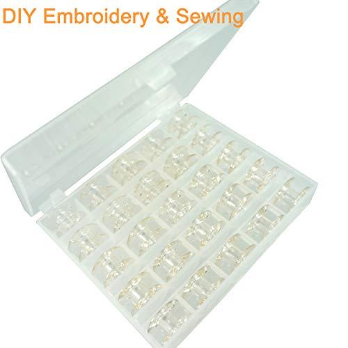 New brothread Plastica trasparente scatola con 25 bobine rocchetti vuoto per macchina da cucire Brother, Singer, Bernina, Pfaff, Elna, Babylock, Kenmore, Juki