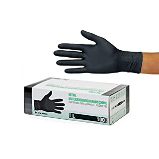 Nitrilhandschuhe 100 Stück Box (L, Schwarz) Einweghandschuhe, Einmalhandschuhe, Untersuchungshandschuhe, Nitril Handschuhe, puderfrei, ohne Latex, unsteril, latexfrei, disposible gloves, black, Large