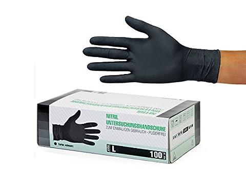 Nitrilhandschuhe, Einweghandschuhe 500 Stück 5 Boxen (L, Nitril schwarz) Einmalhandschuhe, Untersuchungshandschuhe, Nitril Handschuhe, puderfrei, ohne Latex, unsteril, latexfrei, disposible gloves, black, Large