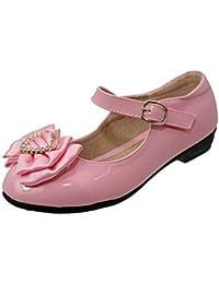 Filles Enfants Plat Fermeture Scratch Rose Blanc Verni Nœud En Satin Mariage Chaussures De Communion