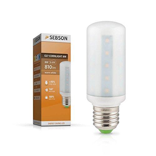 Sebson E27 LED 8 W Lampe - vergleiche 60 W Glühlampe - 810 Lumen, Leuchtmittel 160°, warmweiß E27_CORNLIGHT_8W