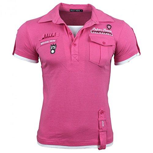 Herren T-Shirt Mix Motive Strass Steine Style Rundhals Kurzarm S M L XL XXL NEU 301 Rosa
