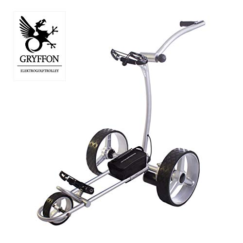 GRYFFON Elektro Golf Trolley Basic Silber mit Lithium Akku/Elektro Caddy Golf/Elektro Trolley X2-LTS
