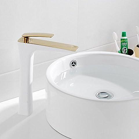 Modylee Entrega de Soild latón pintura blanca y grifo de baño de oro Taucets Faucet alta lavabo, Viola