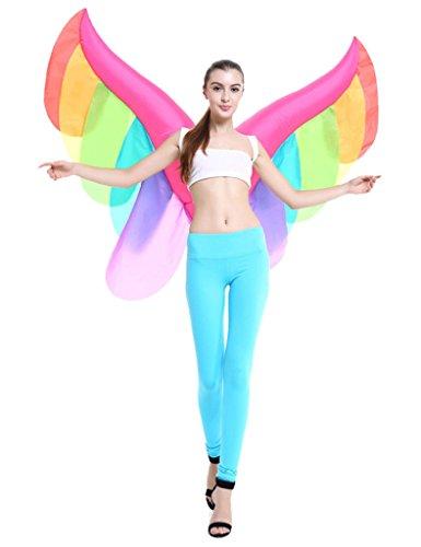 Aufblasbares Kostüm Schmetterling Flügel Regenbogen Fee- Schöne Feenflügel in Regenbogenfarben Erwachsene Cosplay (Flügel Regenbogen Kostüme)