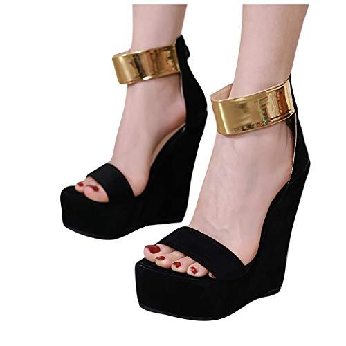 Viahwyt Frauen-Sommer-Hoher Absatz Sandalen Plattform-hochhackige runde Zehen-Sandaletten Mode Peep Toe Keil Sandelholz-Partei-Schuhe Groß high Heels.(Schwarz,40) - Keil Weiß Sandalen, Niedrigen