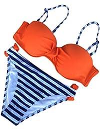 Mujeres Playa Color Caramelo Triángulo Bikini Push Up Beachwear Trajes De Baño Naranja L