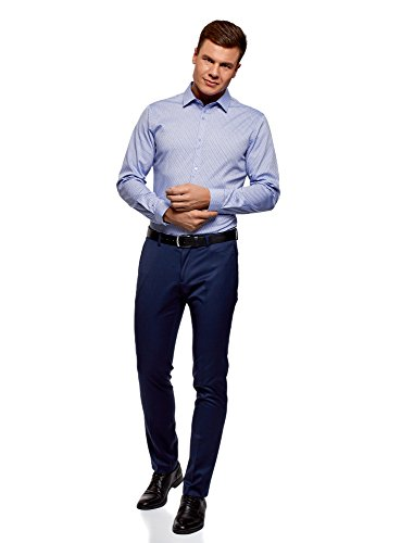 oodji Ultra Uomo Camicia Stampata in Cotone Blu (7079O)