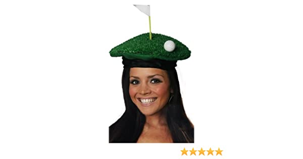 11474f0f7b7 Golf Golfing HAT Novelty Gift Party Green Faux Grass Ball Tee Fancy Dress  Hat  Amazon.co.uk  Toys   Games